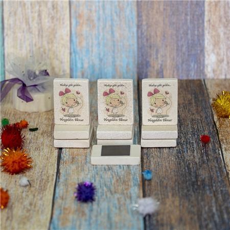 Doğal Taş Doğum Günü Baby Shower Magneti 4x6cm DB 18
