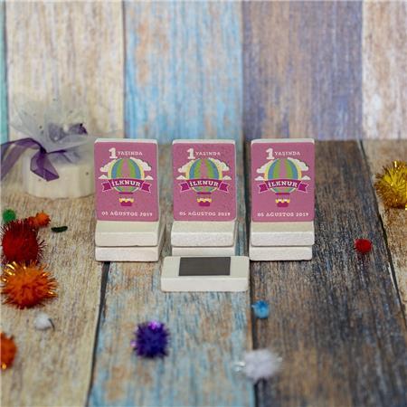 Doğal Taş Doğum Günü Baby Shower Magneti 4x6cm DB 16